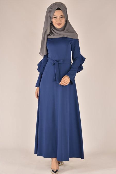 Modamerve İndigo Kol Detaylı Elbise