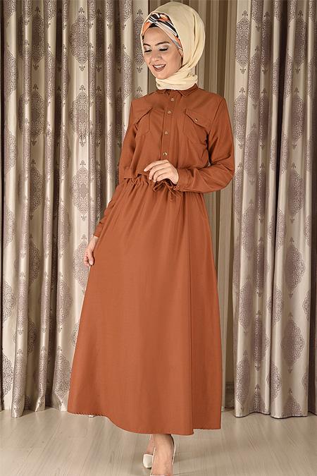 Modamerve Kiremit Çıtçıt Düğmeli Elbise