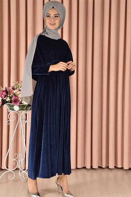 Modamerve Lacivert Pelerin Görünümlü Kadife Elbise