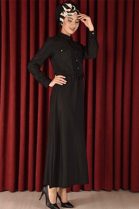 Modamerve Siyah Çıtçıt Düğmeli Elbise