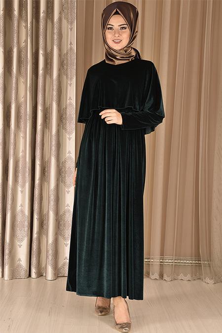 Modamerve Zümrüt Pelerin Görünümlü Kadife Elbise