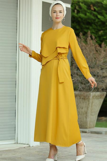 Myzen Hardal Katlı Bade Elbise