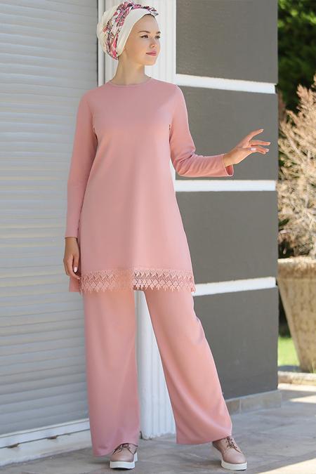 Myzen Pudra Dantelli Tunik&Pantolon İkili Takım