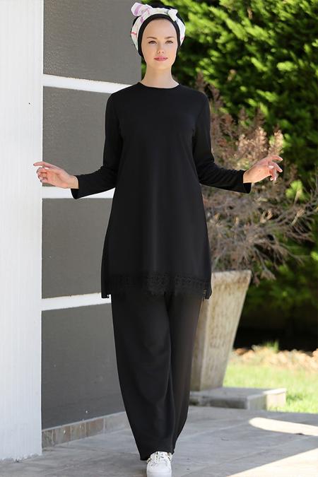 Myzen Siyah Dantelli Tunik&Pantolon İkili Takım