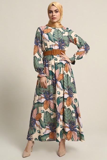 Refka Bej Desenli Elbise