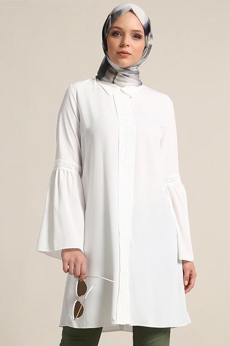 Refka Beyaz Güpür Detaylı Tunik
