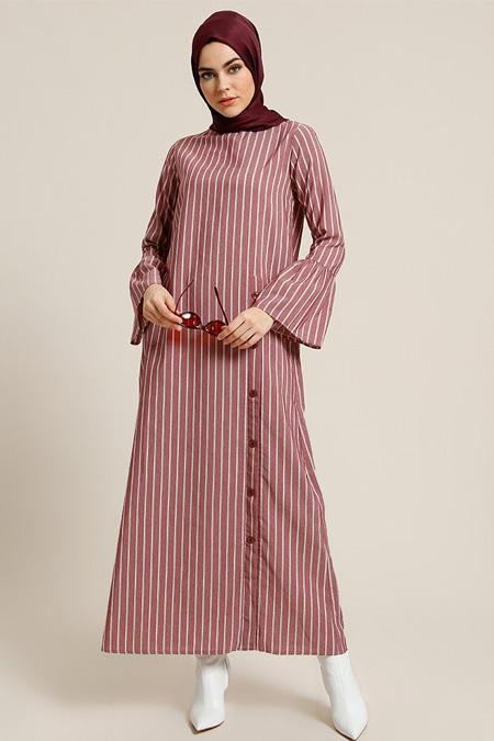 Refka Bordo Çizgili Düğme Detaylı Elbise