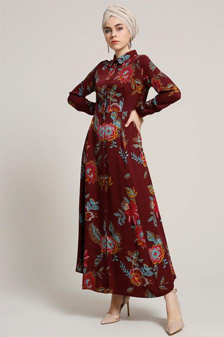 Refka Bordo Doğal Kumaşlı Çiçek Desenli Elbise
