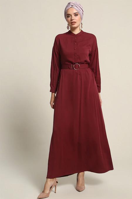 Refka Bordo Doğal Kumaşlı Kemerli Elbise