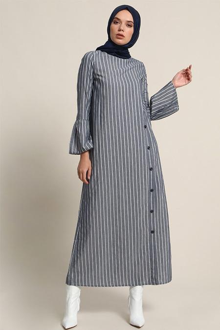 Refka İndigo Çizgili Düğme Detaylı Elbise
