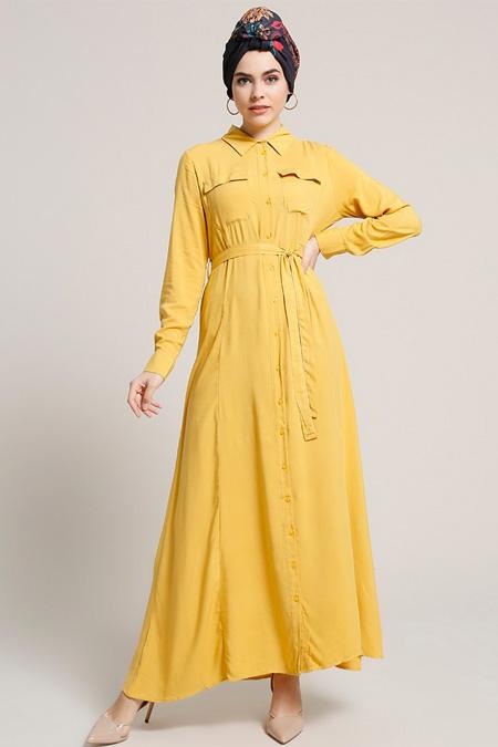 Refka Sarı Doğal Kumaşlı Boydan Düğmeli Elbise