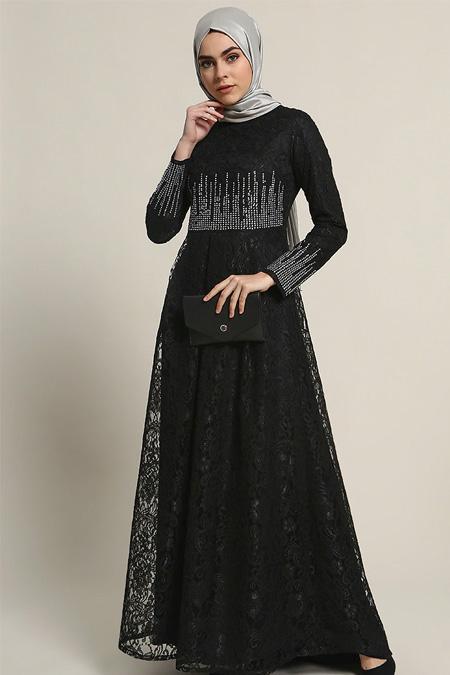 Refka Siyah Dantelli Taşlı Abiye Elbise