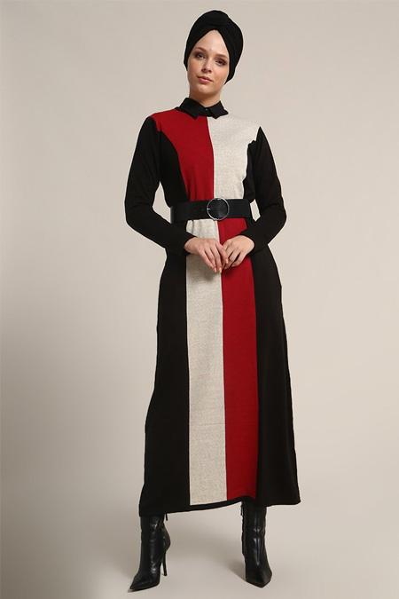 Refka Siyah Kırmızı Triko Elbise