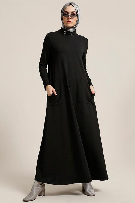 Refka Siyah Kuş Gözü Detaylı Cepli Elbise