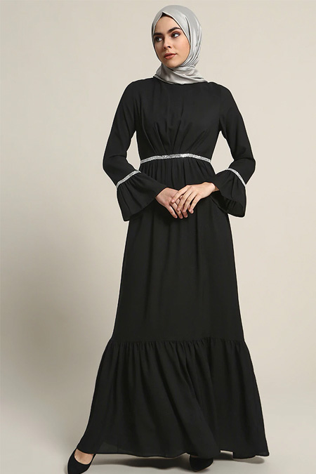 Refka Siyah Taş Detaylı Abiye Elbise