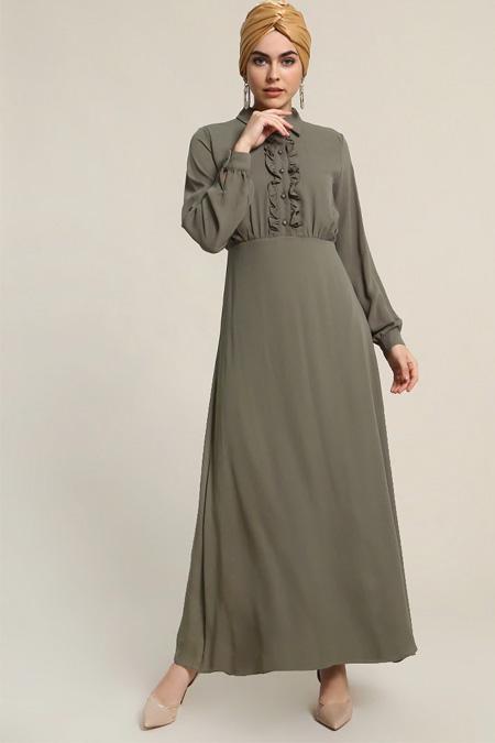 Refka Yeşil Fırfır Detaylı Elbise