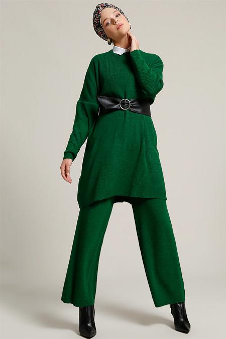 Refka Yeşil Tunik & Pantolon Triko Takım