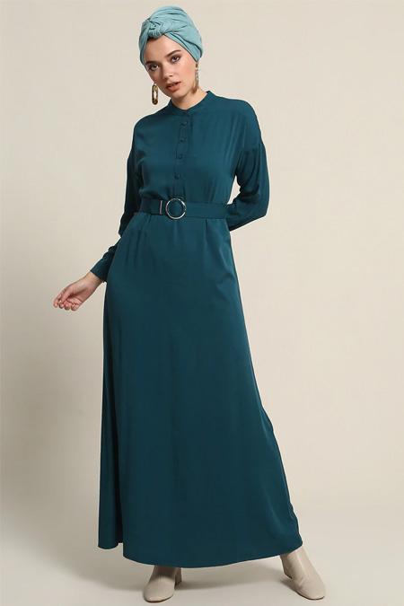 Refka Zümrüt Doğal Kumaşlı Kemerli Elbise