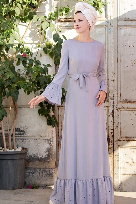 Selma Sarı Design Gri Valon Kol İnci Çakma Elbise
