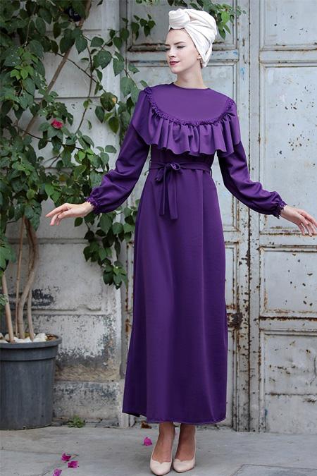 Selma Sarı Design Mor Fırfır Dantel Detaylı Elbise