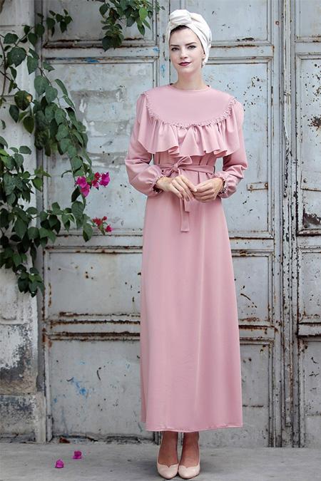 Selma Sarı Design Pudra Fırfır Dantel Detaylı Elbise