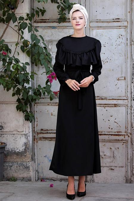 Selma Sarı Design Siyah Fırfır Dantel Detaylı Elbise