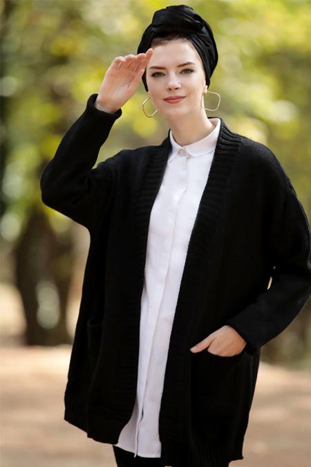 Selma Sarı Design Siyah Salaş Triko Cepli Ceket