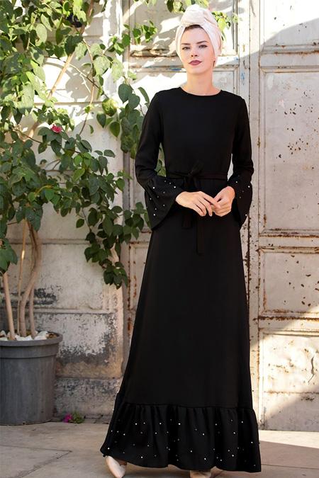 Selma Sarı Design Siyah Valon Kol İnci Çakma Elbise
