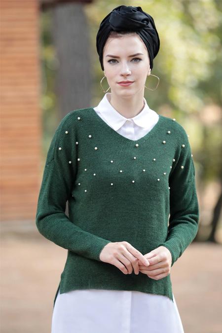 Selma Sarı Design Yeşil V Yaka İnci Çakma Triko Bluz