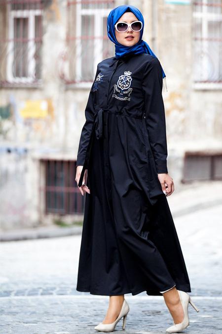 Tesse Siyah Kemerli Elbise