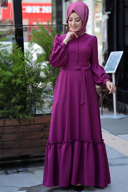 Zehrace Fuşya Balon Kollu Abiye Elbise