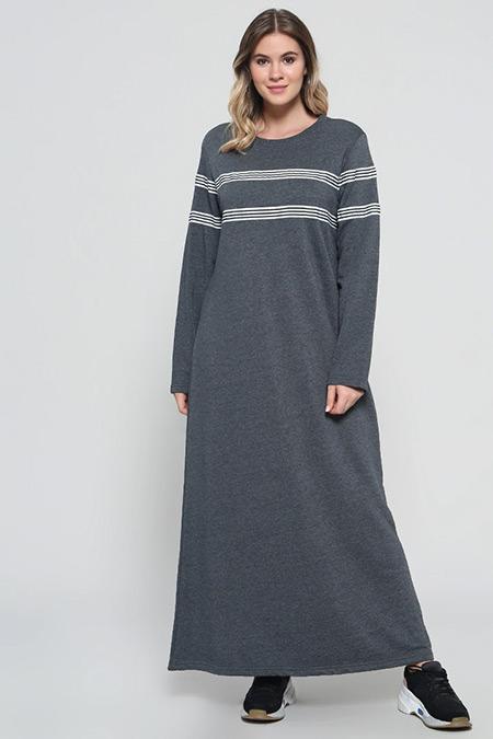 Alia Antrasit Doğal Kumaşlı Çizgili Elbise
