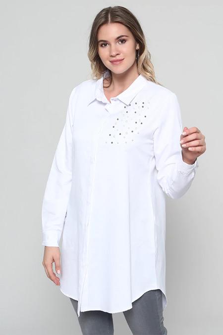 Alia Beyaz Doğal Kumaşlı İnci Detaylı Tunik