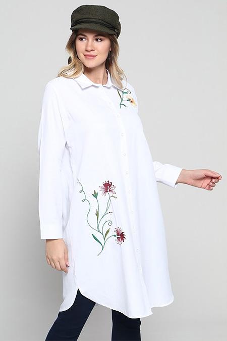 Alia Beyaz Doğal Kumaşlı Nakış Detaylı Tunik