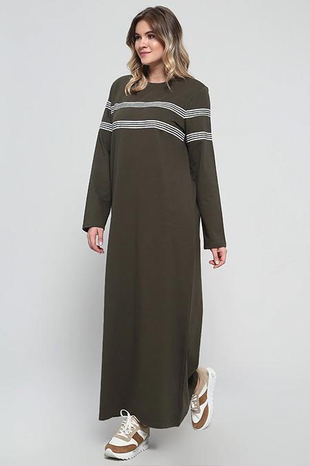 Alia Haki Doğal Kumaşlı Çizgili Elbise