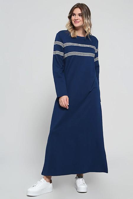 Alia Lacivert Doğal Kumaşlı Çizgili Elbise