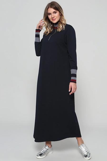 Alia Lacivert Fermuar Detaylı Elbise
