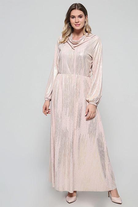 Alia Pudra Degaje Yaka Abiye Elbise