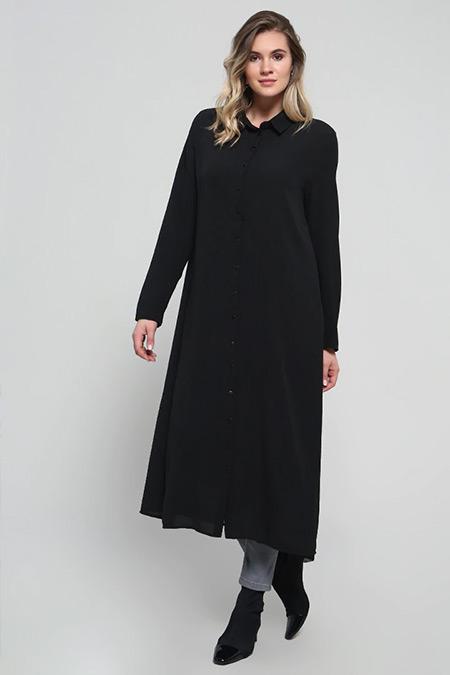 Alia Siyah Boydan Düğmeli Tunik