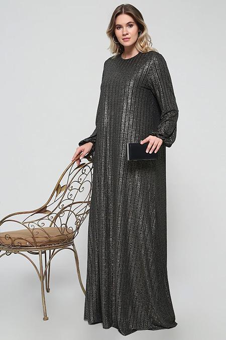 Alia Siyah Parlak Kumaşlı Abiye Elbise