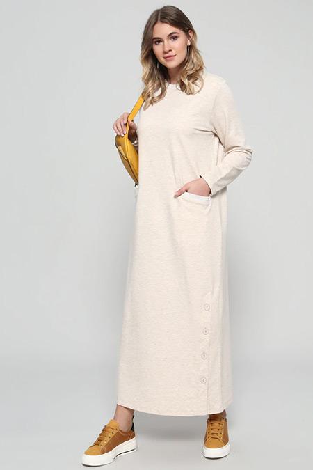 Alia Vizon Eteği Düğme Detaylı Spor Elbise