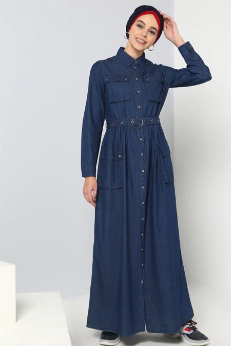 Benin Lacivert Doğal Kumaşlı Kot Elbise