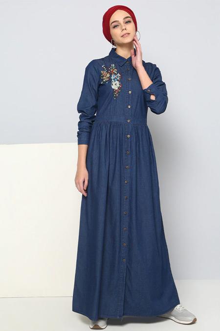 Benin Lacivert Doğal Kumaşlı Nakışlı Kot Elbise