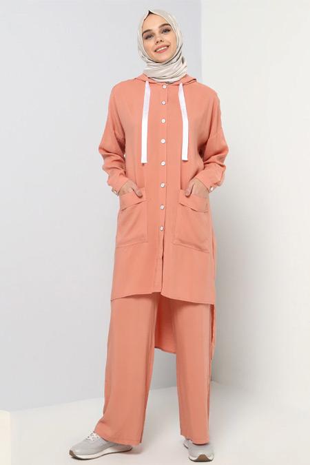 Benin Pastel Pembe Doğal Kumaşlı Tunik&Pantolon İkili Takım