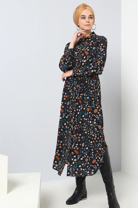 Benin Siyah Desenli Tunik Elbise