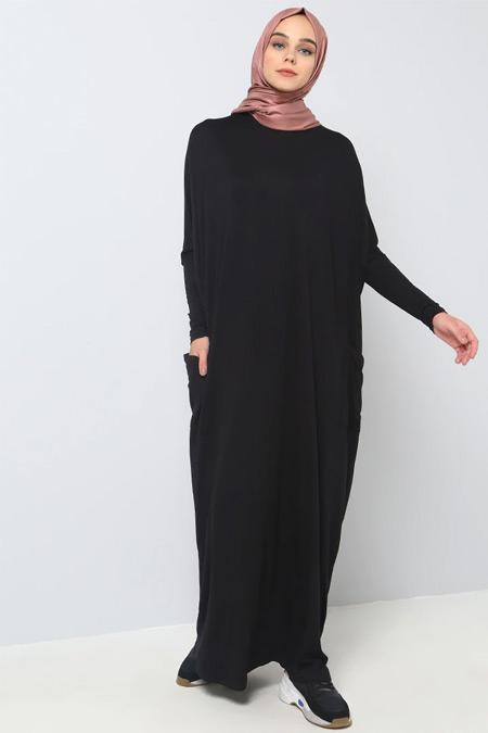 Benin Siyah Doğal Kumaşlı Yarasa Kollu Elbise