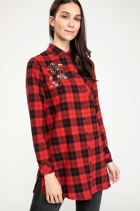 Defacto İşleme Detaylı Kareli Gömlek Tunik