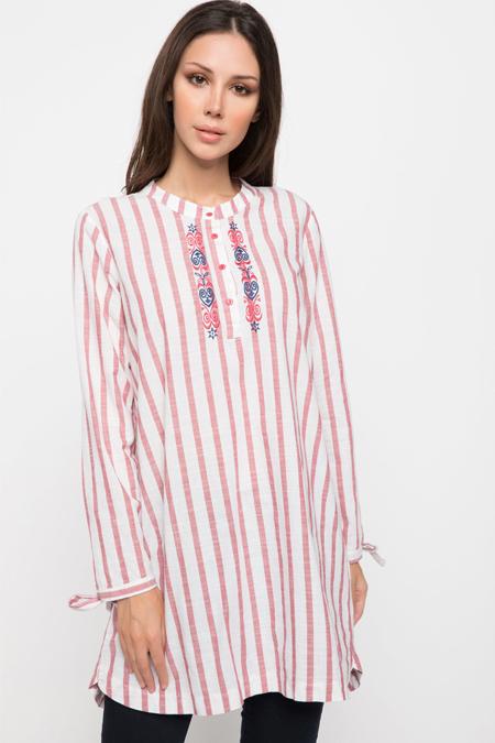 Defacto Kolları Bağlama Detaylı Çizgili Gömlek Tunik