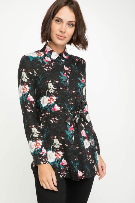 Defacto Siyah Kuşak Detaylı Floral Desenli Gömlek Tunik