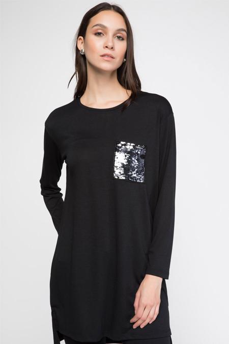 Defacto Siyah Payet Cep Detaylı Tunik